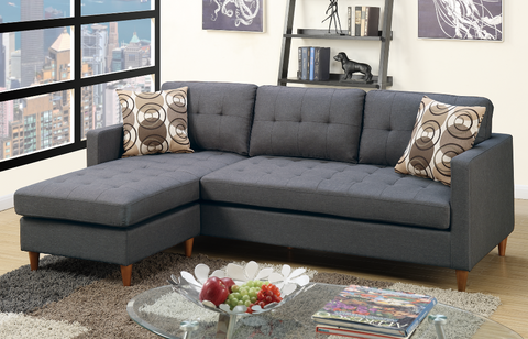 Arne Polyfibre Three Seat Chaise Sofa Ocean Grey