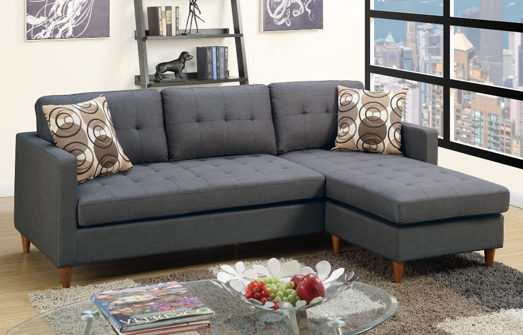 Arne Polyfibre Three Seat Chaise Sofa Ocean Grey reversed