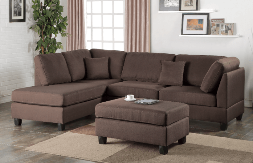 Ashmore Chaise Sofa in Umber LHF chaise