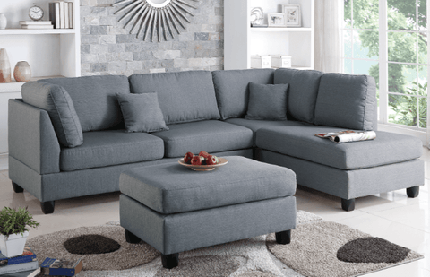 Ashmore Chaise Sofa in Pewter