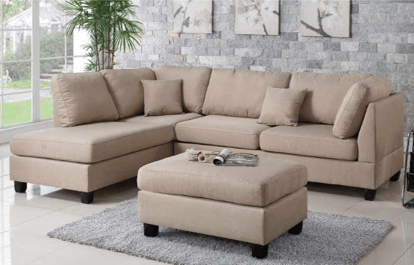 Ashmore Chaise Sofa Sand left hand facing