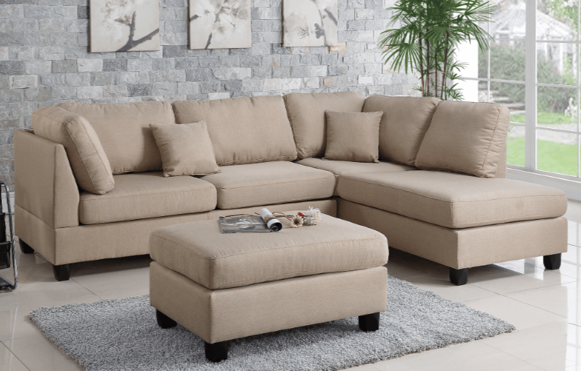 Ashmore Sand Colour Linen Lounge Suite From Chaise Sofas