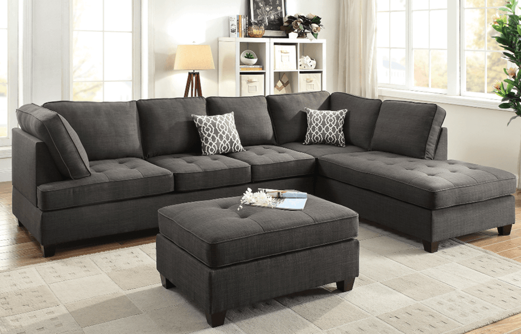 L Shaped Ash Black Sofa-1