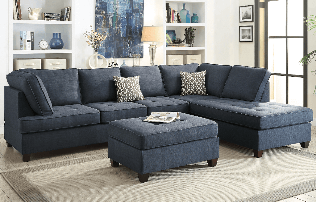 Branksome Chaise Sofa Marine Blue