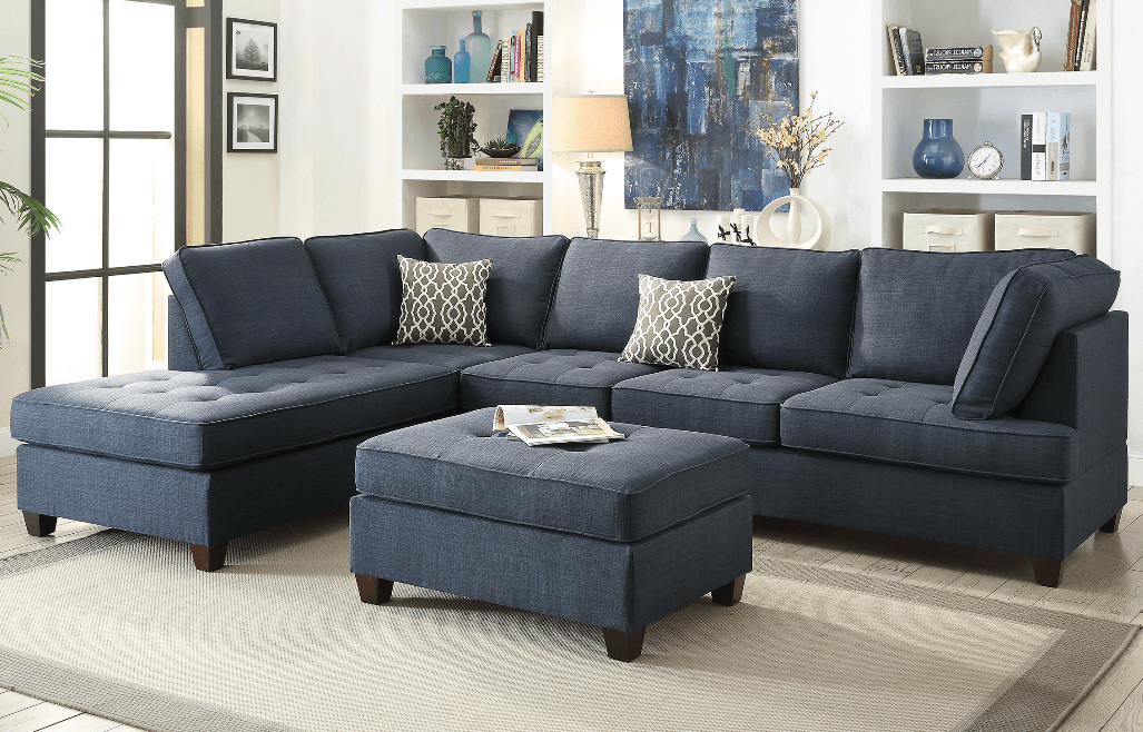 Branksome Dorris Marine Blue Fabric Lounge Suite At Chaise