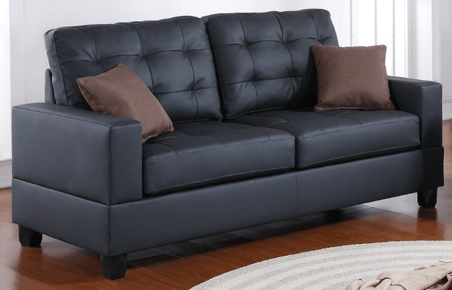 Broadstone Black Leather Impress Lounge Suite Chaise