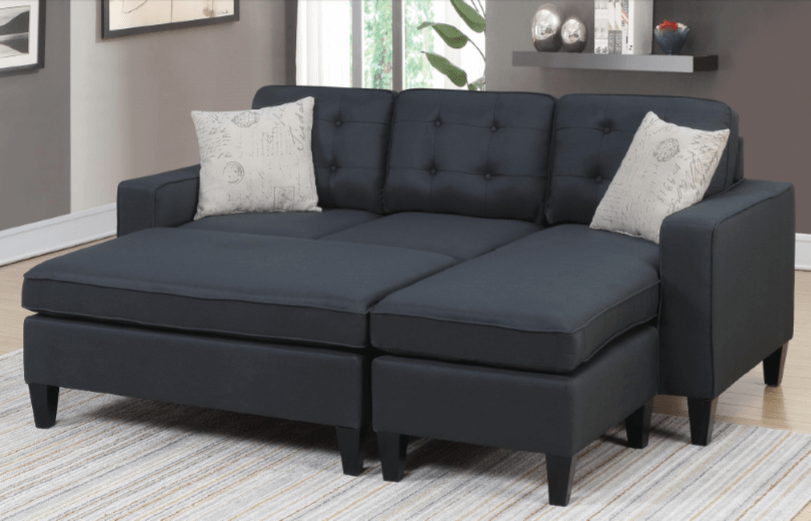 Farnham Chaise Sofa in Black Close
