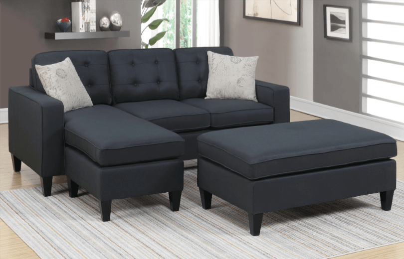 Farnham Chaise Sofa in Black LHF
