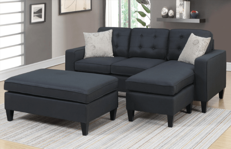 Farnham Chaise Sofa in Black RHF
