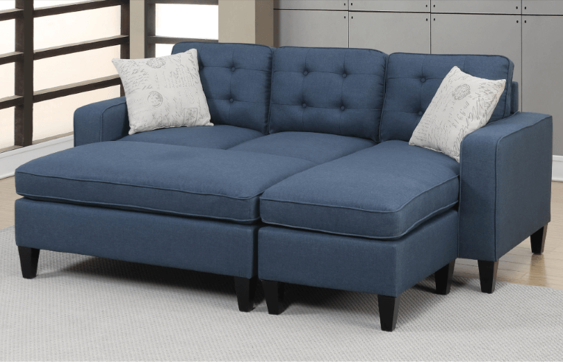 Farnham Blue Linen Like Lounge Suite From Chaise Sofas In