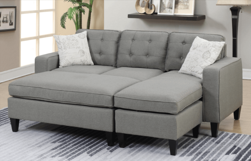Farnham Chaise Sofa in Light Grey Close
