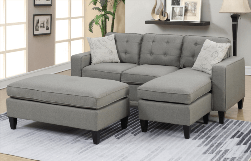 Farnham Chaise Sofa in Light Grey RHF