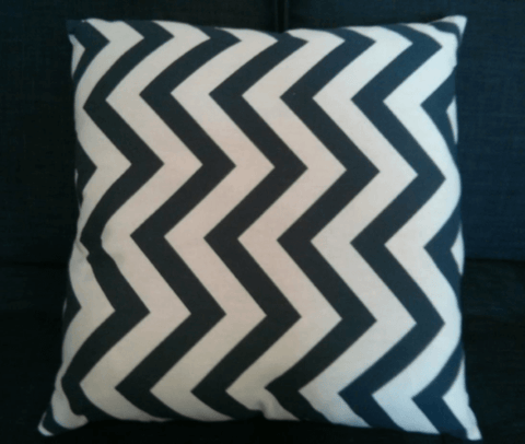 Holme Square Cushion in Blue Zigzag