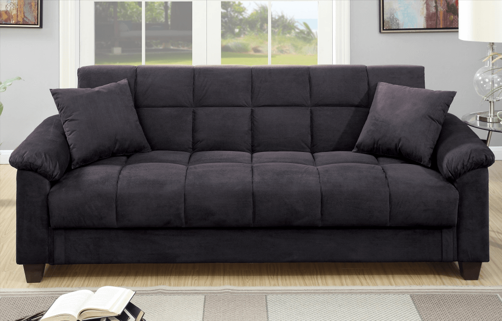 Kimmeridge Graphite Micro Suede Adjustable Sofa Bed Chaise