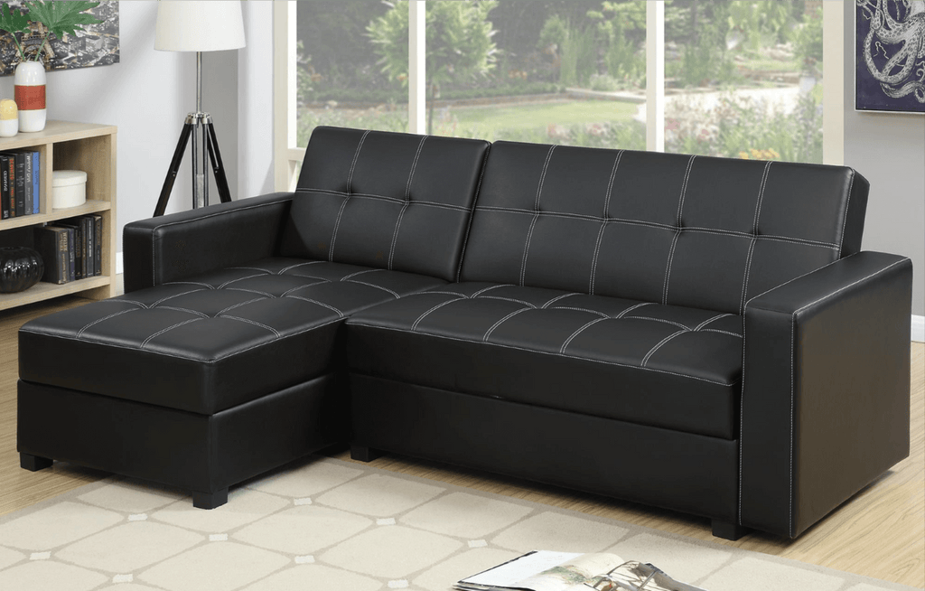 Littlemoor Black Polyfibre Adj Chaise Sofa Bed From Chaise