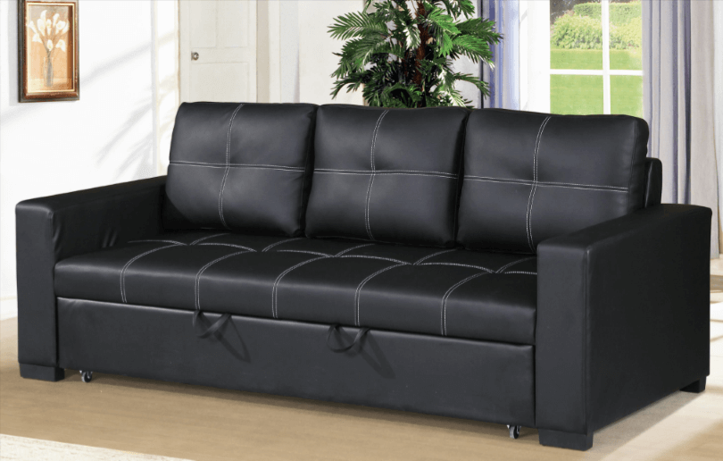 Littlemoor Black Leather Impression Sofa Bed From Chaise