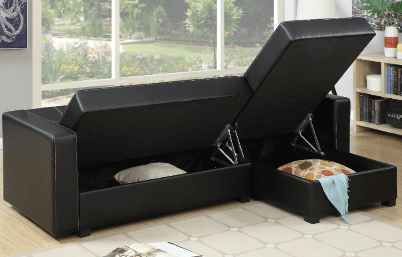 Littlemoor Adj Chaise Sofa Black Storage