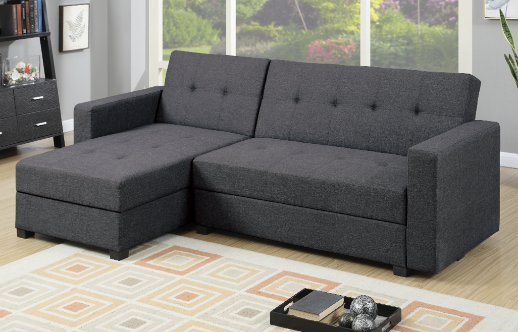 Littlemoor Pewter Polyfibre Adj Chaise Sofa Bed From