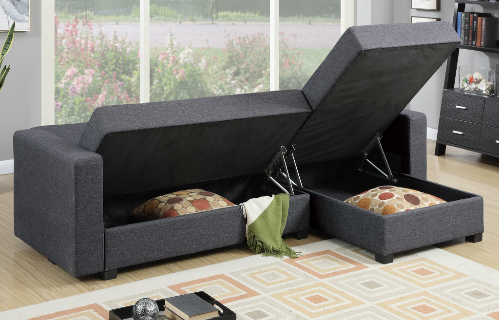 Littlemoor Adj Chaise Sofa Pewter storage