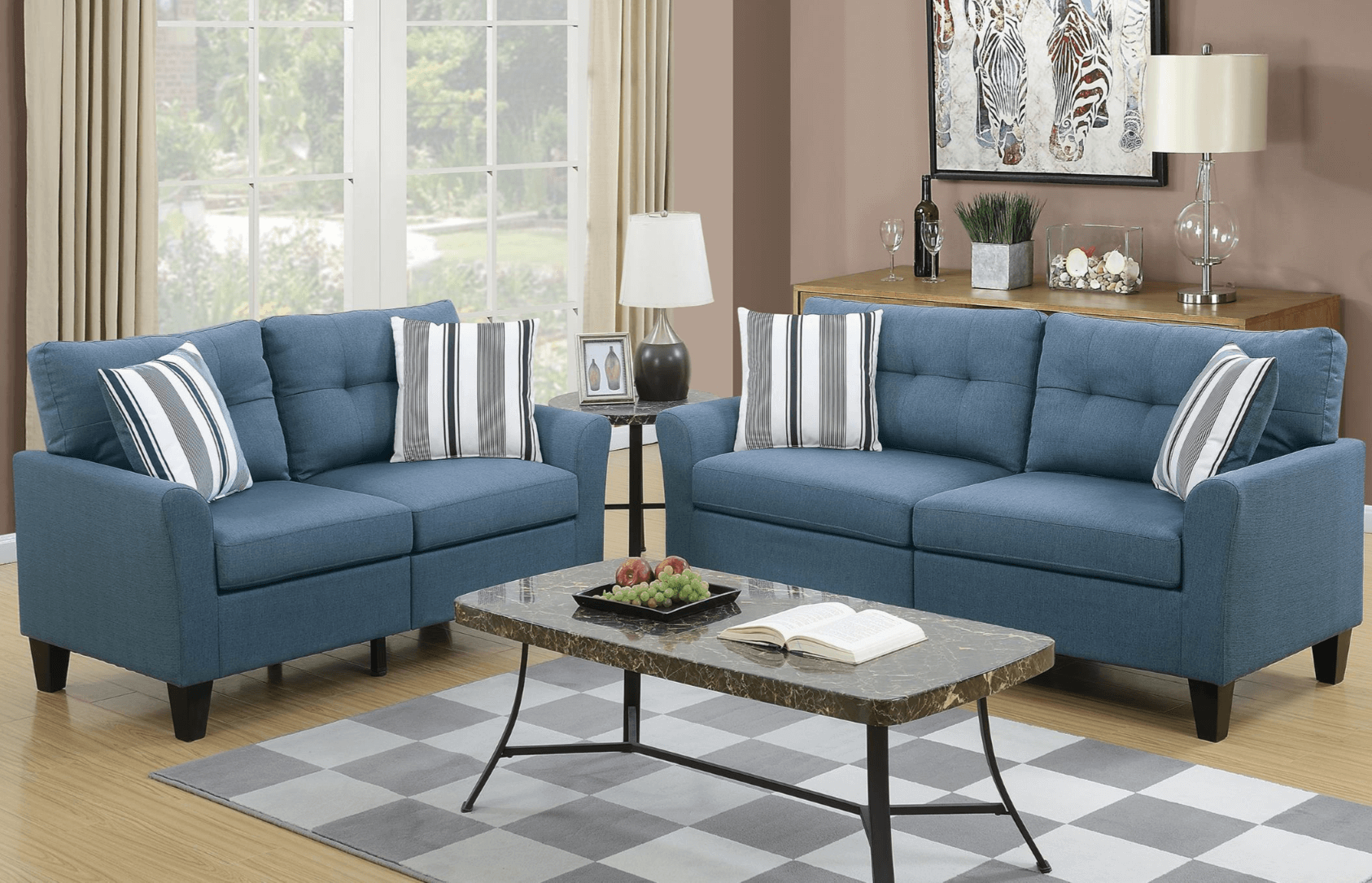 Melbury Fabric Lounge Suite In Blue From Chaise Sofas In Perth