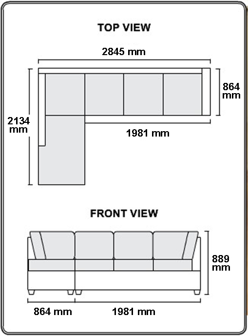 Wexford Chaise Sofa Dimensions