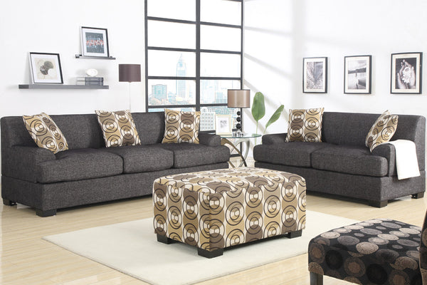 2 and 3 Seater Sofa Set With Brown Patterned Ottoman