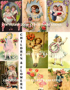 Vintage Children & Flowers Digital Collage Sheet