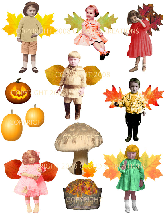 Fall Fairies Digital Collage Sheet