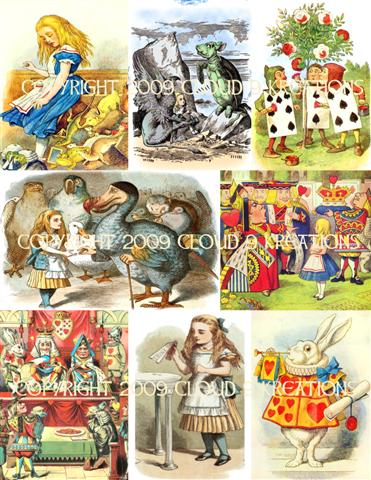 Alice In Wonderland Color Tenniel Digital Collage Sheet