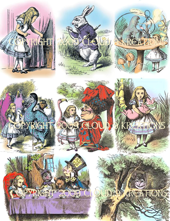 Alice In Wonderland Color Tenniel Digital Collage Sheet 2