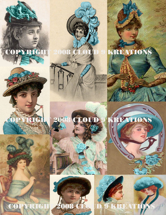 Vintage Women's Teal Hats Digital Collage Sheet