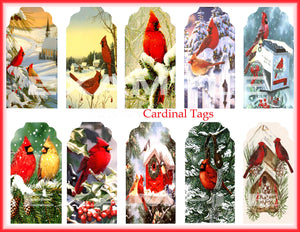 Cardinal . . . Christmas . . . Gift/Hang Tags Digital Collage Sheet