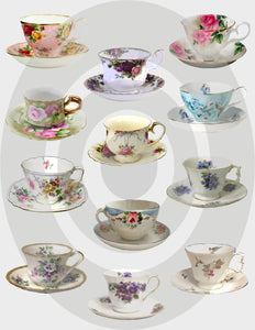 Teacups Digital Collage Sheet