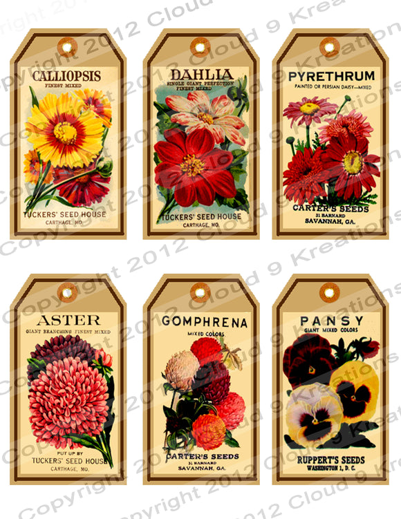 Vintage Flower Seed Packets Digital Collage Sheet