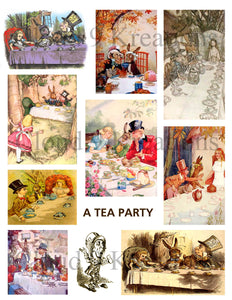 Alice In Wonderland - It's A Tea Party Digital Collage Sheet