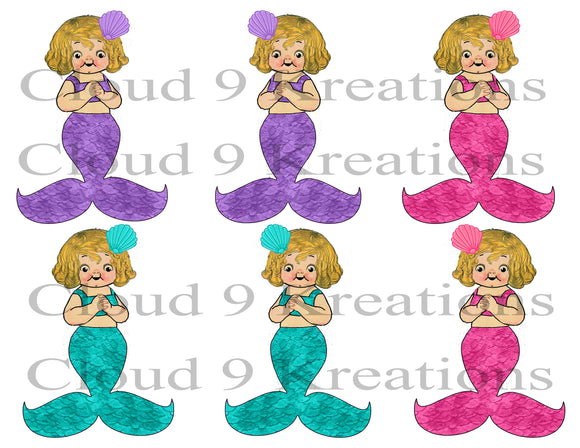 Mermaid Dolly Dingle Digital Collage Sheet
