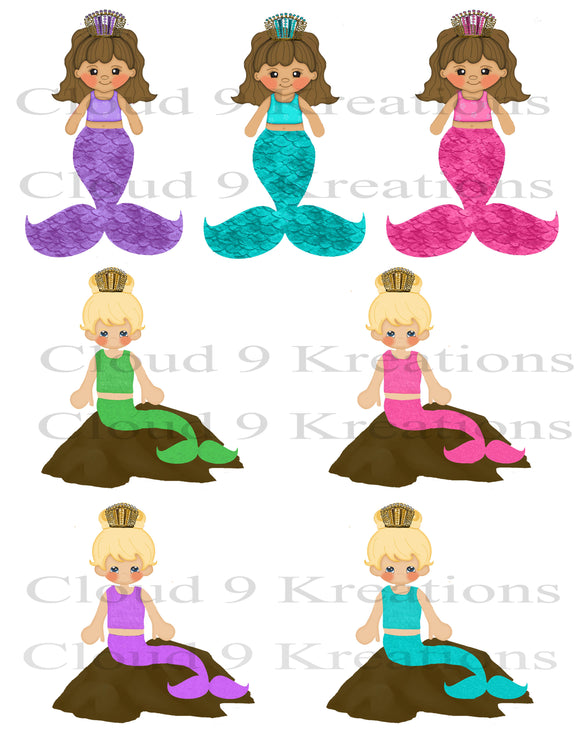 Sweet Little Mermaids Digital Collage Sheet