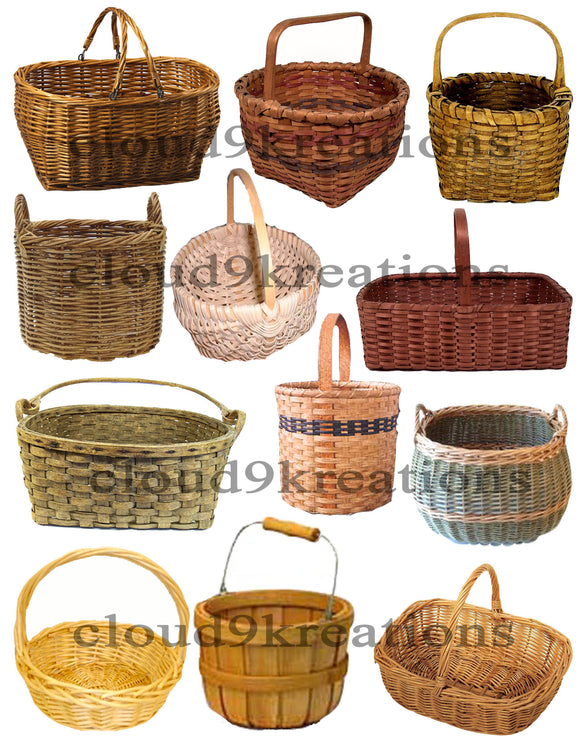 Wicker Baskets Digital Collage Sheet