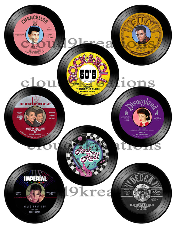 3 Inch 1950's Rock n' Roll Record Digital Collage Sheet