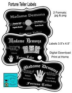 Halloween Fortune Teller Labels/Tags Digital Collage Sheet