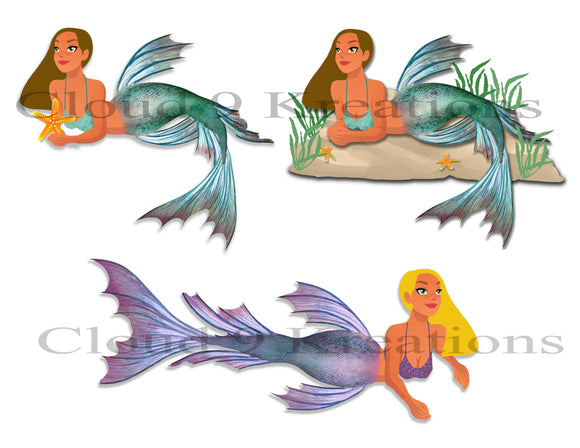 Mermaids Digital Collage Sheet 4 - PNG Format