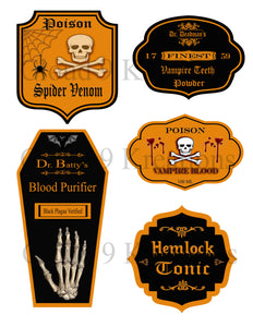 Halloween Potion Labels Digital Collage Sheet