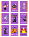 Halloween Kids Trick or Treat Collectible Trading Cards/ Stickers Digital Collage Sheet