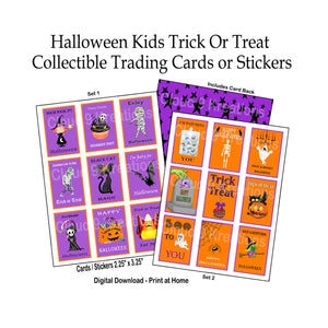 Halloween Kids Trick or Treat Collectible Trading Cards/Stickers Digital Collage Sheet