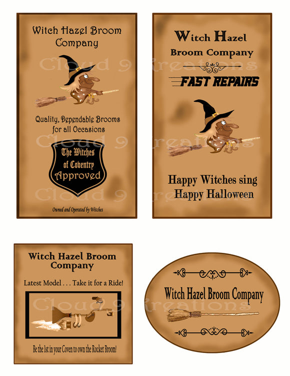 Halloween Witch Hazel Broom Company Digital Collage Sheet 1