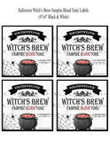 Halloween Brimstone Witch's Brew Vampire Blood Tonic Labels Digital Collage Sheet