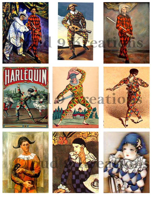 Harlequins Digital Collage Sheet 1