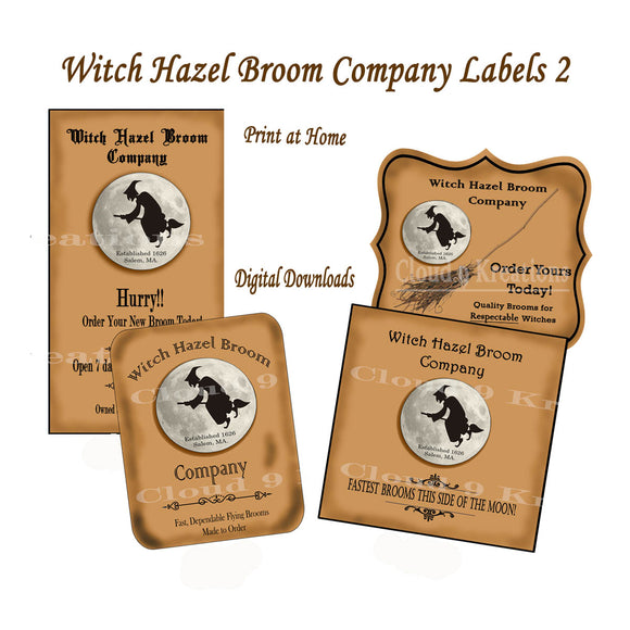 Halloween Witch Hazel Broom Company Labels Digital Collage Sheet 2