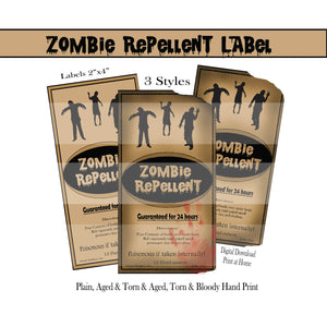 Zombie Repellent Labels
