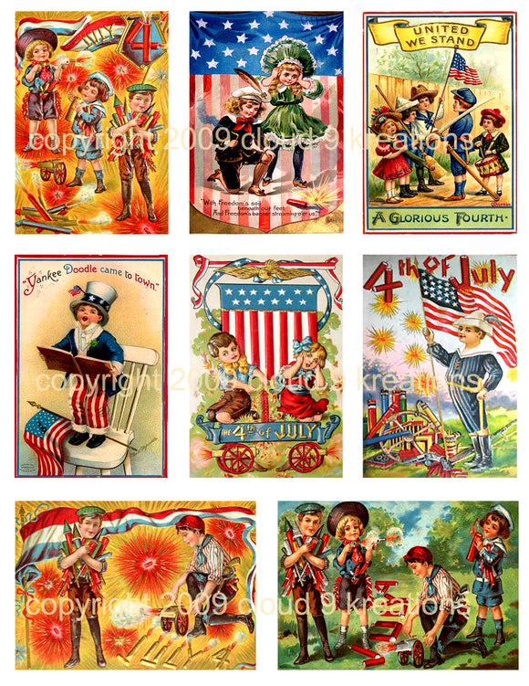 Vintage 4th of July Digital Collage Sheet 1
